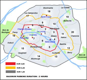Примерная стоимость парковки в Париже по округам